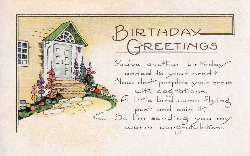Birthday post card