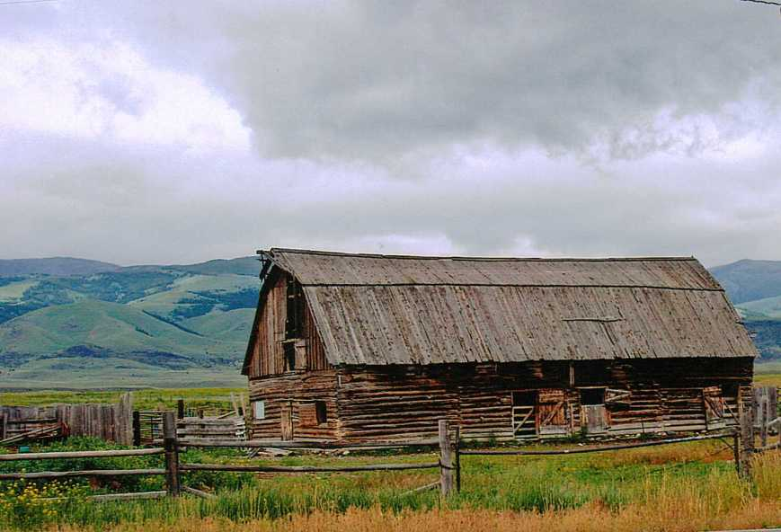 Old barn in a valley